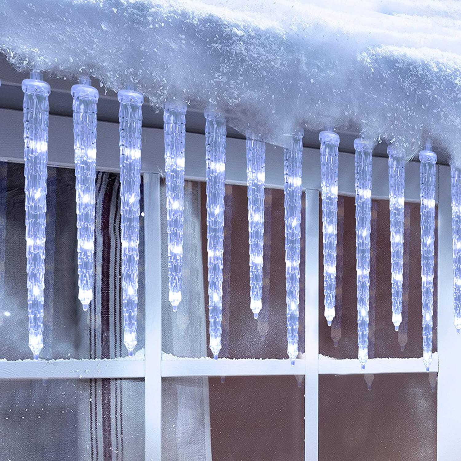Christmas Icicle Lights, 20 icicles 90 LED Icicle Lights, Outdoor Indoor Crystal Ice String Lights, Connectable White Icicle Lights for Christmas Decorations