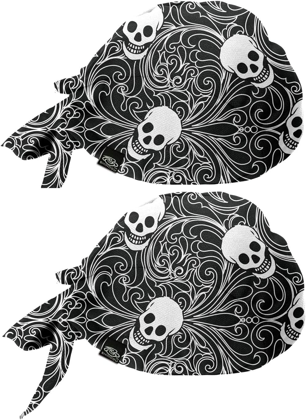 Skull Black SR-097 Bandana Type Shinobu Riders 2-Pack Coolmax Quick Drying Helmet Skull Cap Beanie