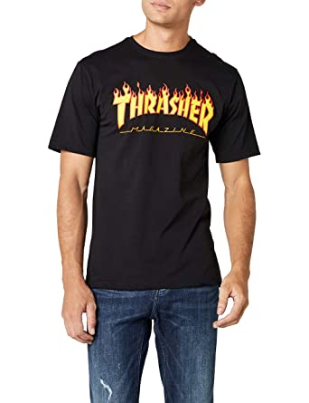 d81beb24b1bf Amazon.com  Thrasher Flame Short Sleeve T-Shirt  Clothing