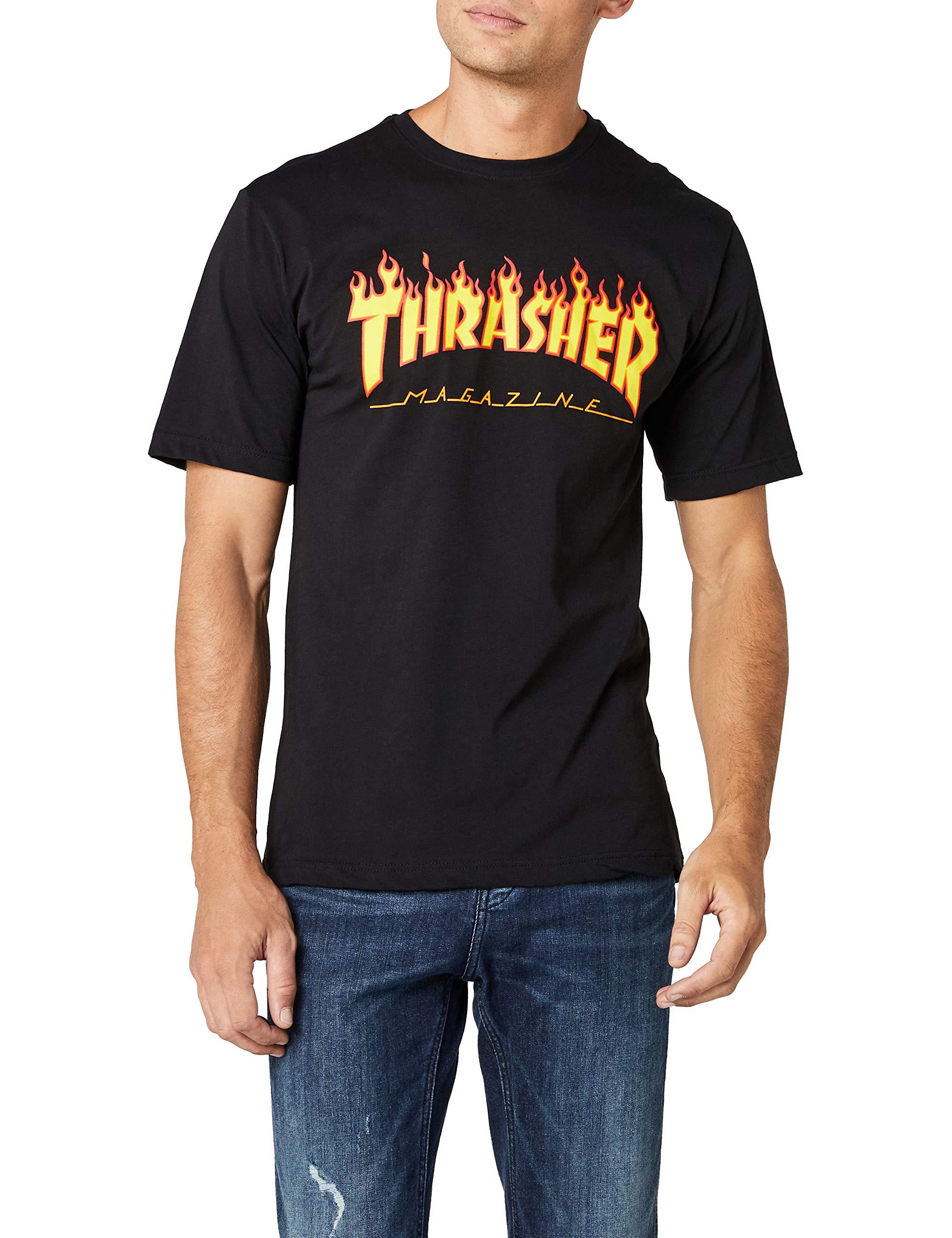 Thrasher Magazine Flame Logo T-Shirt - Medium- Black by Thrasher (Image #1)