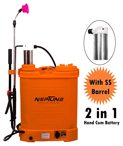 NEPTUNE SIMPLIFY FARMING 2 in 1 Hand Cum Battery Operated Knapsack Garden Sprayer BS-21 Plus (Capacity: 16 Ltr) with SS Barrel