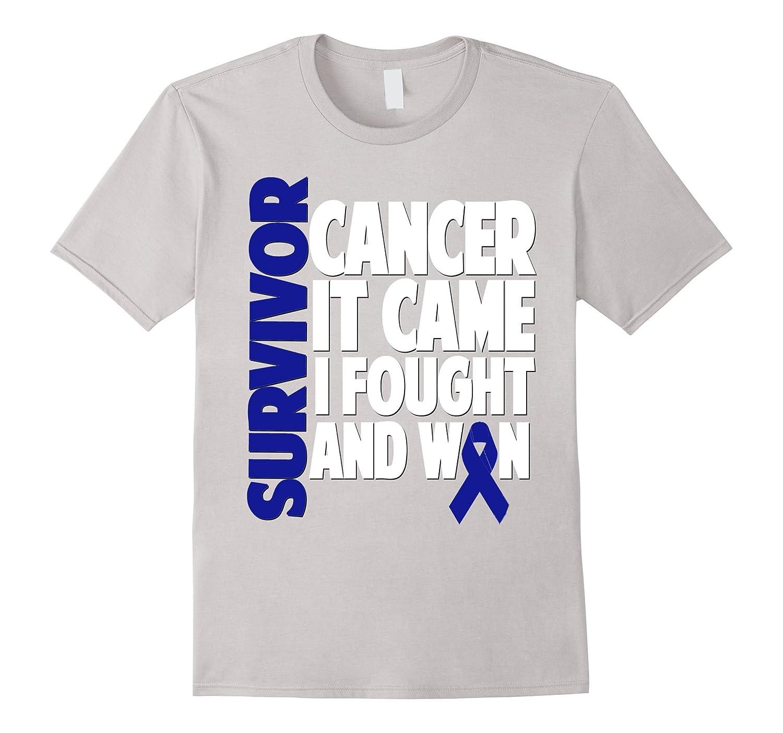 Colon Cancer Survivor Shirt Gift Dark Blue Ribbon Fighter Anz Anztshirt