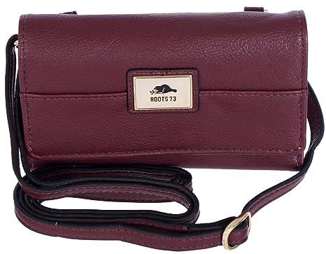d1dd7f738252 Roots 73 Women s Slim Cross Body Shoulder Clutch Wallet Purse Merlot   Amazon.ca  Luggage   Bags