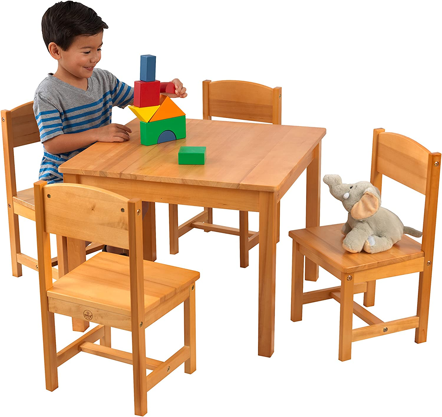 KidKraft Wooden Farmhouse Table & 4 Chairs Set, Children's Furniture for Arts & Activity – Natural