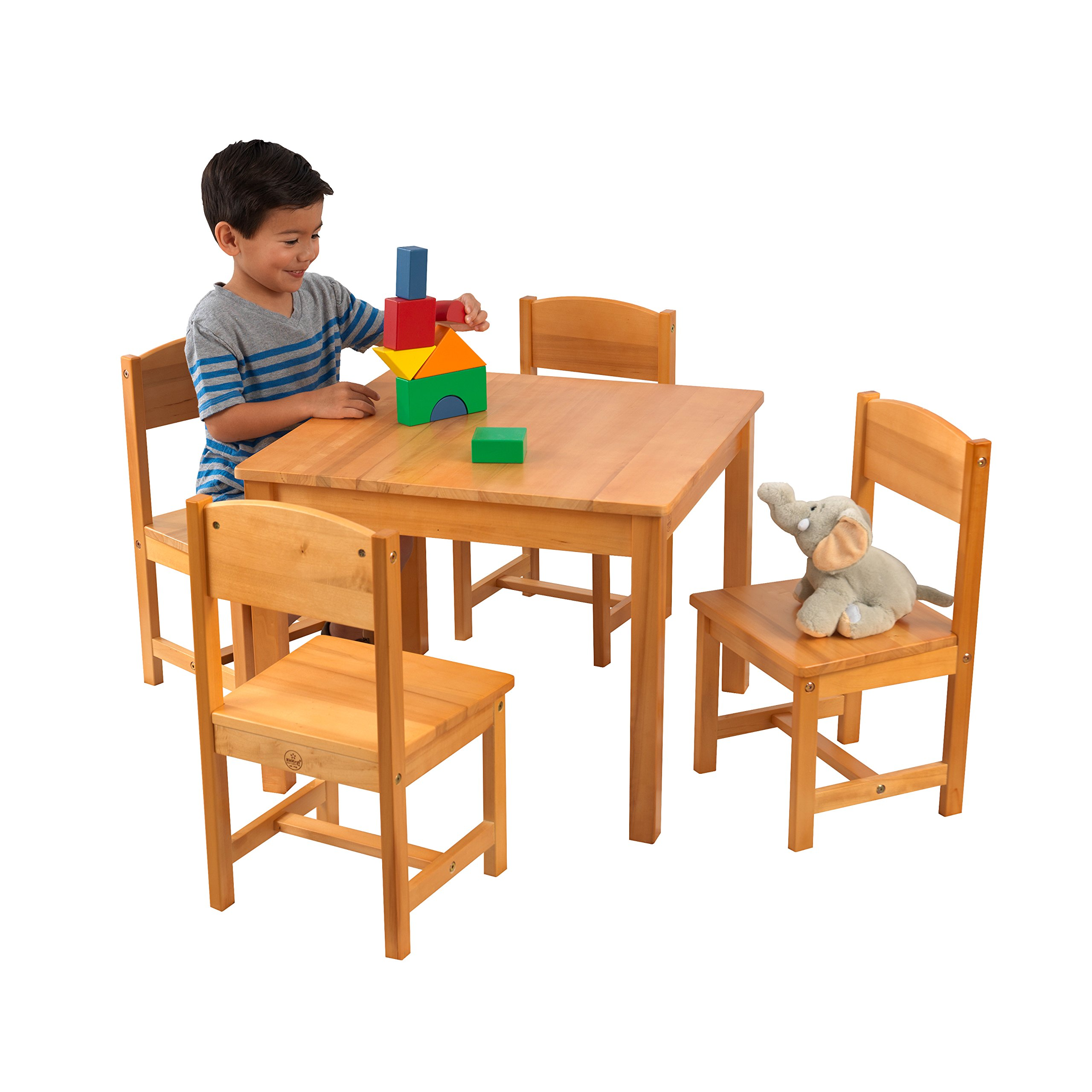 KidKraft Wooden Farmhouse Table & 4 Chairs Set, Children's Furniture for Arts & Activity - Natural by KidKraft