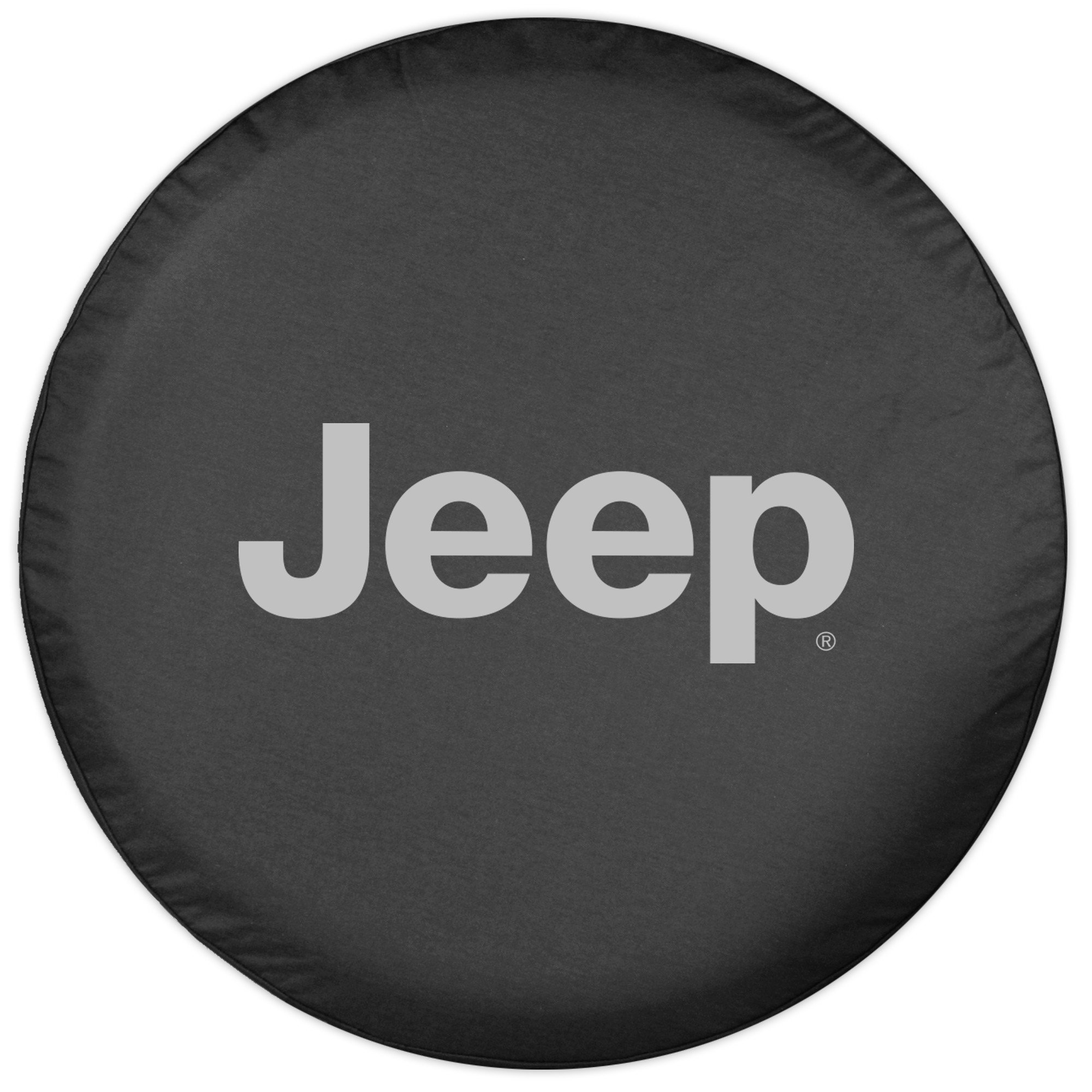 32'' Jeep Logo Tire Cover - (Black Denim Vinyl) - Silver Print - Made in the USA by Optimum USA (Image #2)