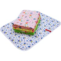 Fareto Water Proof Nappy Changing Mat Bed Protector with Foam Cushioned for Baby (Multicolour, 0-3 Months) -4 Sheets