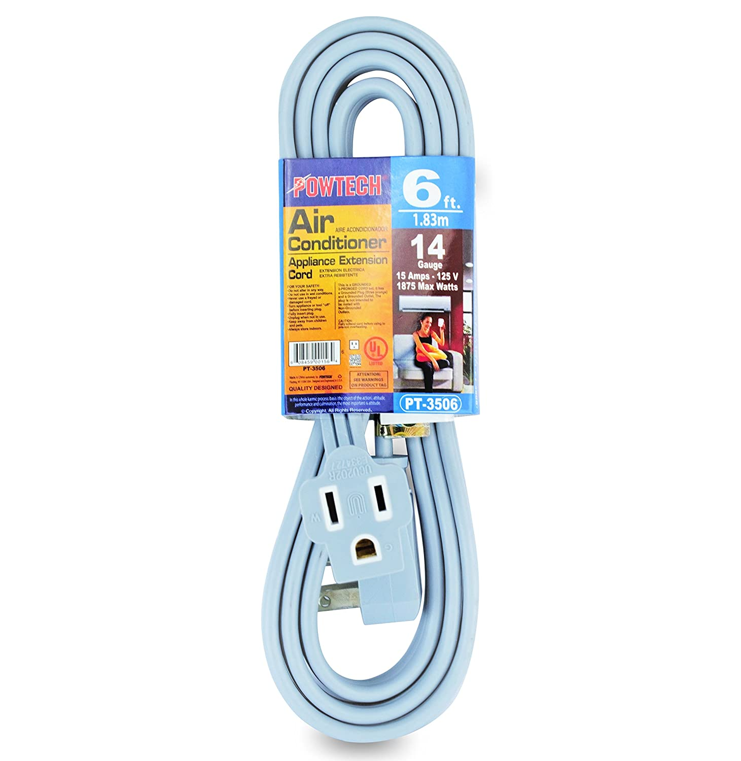 Powtech 15 Foot Air Conditioner And Appliance Extension Cord Ul Plug Wall Ac Unit Wiring Listed