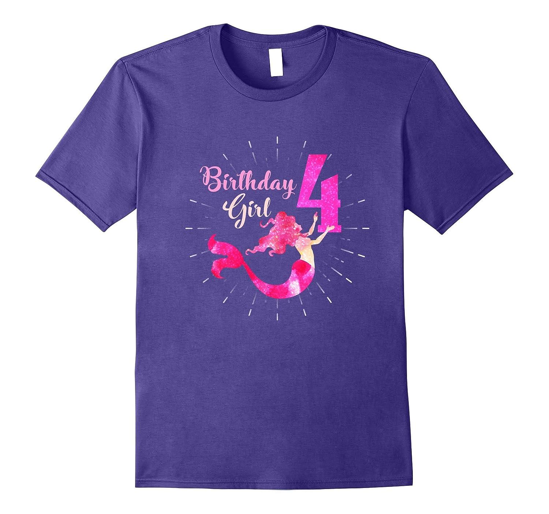 4th Birthday Girl T-Shirt Mermaid Tails Youth Fins Fun Tees-Art