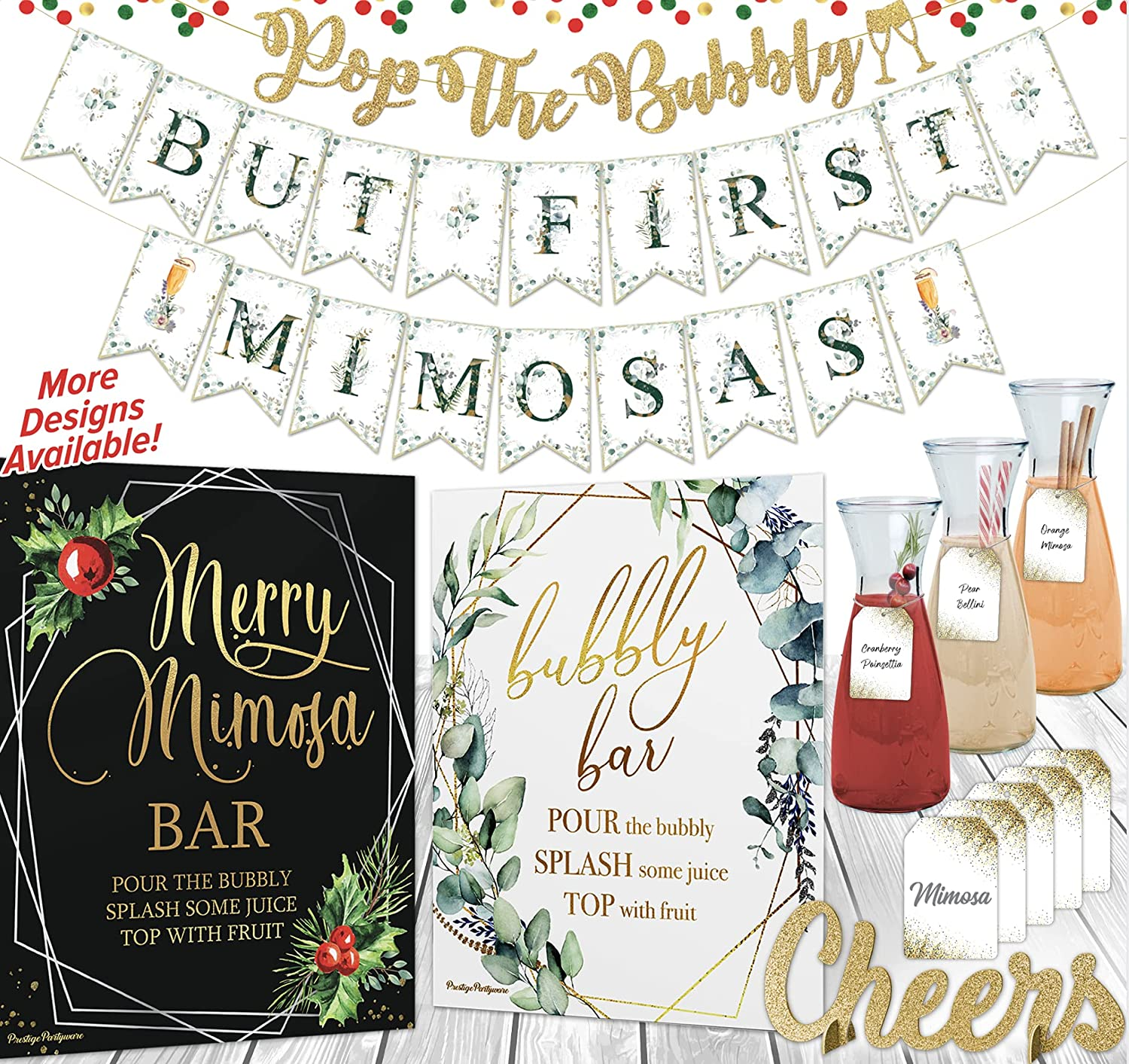Mimosa Bar Kit | Drinks Table Decor! Merry Friendsmas, Gender Reveal Christmas Theme, Before Christmas Baby Shower, Lets Get Lit Christmas Birthday Decorations, Adult Bridal Brunch Sign Set (Holiday)