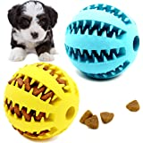 Youngever 2 Pack Dog Ball Toys for Pet Tooth Cleaning, Chewing, Fetching, IQ Treat Ball Food Dispensing Toys (Small 2…