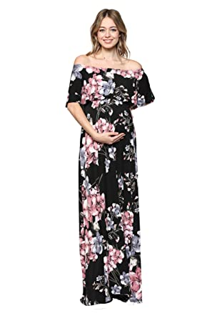 b688b5bfd5e81 Hello MIZ Women's Ruffle Off The Shoulder Maxi Maternity Dress - Made in  USA (Black