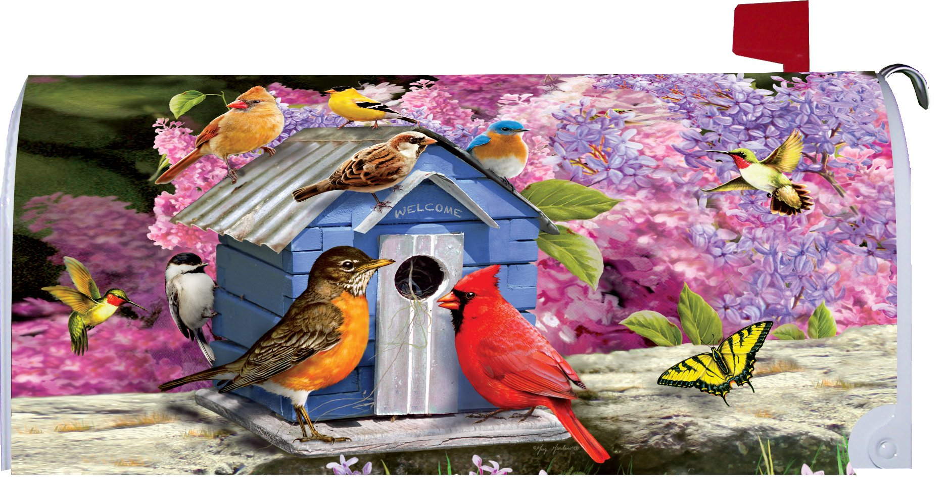 Songbird Birdhouse - Mailbox Makover Cover - Vinyl witn Magnetic Strips for Steel Standard Rural Mailbox - Copyright, Licensed and Trademarked by Custom Decor Inc.