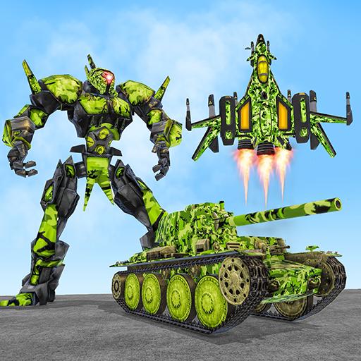 US Army Robot Transformation Jet Robo Car Tank War -