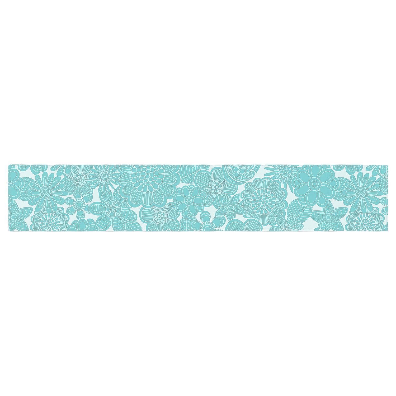 KESS InHouse Julia Grifol Turquoise Birds Aqua Blue Table Runner 16 x 180