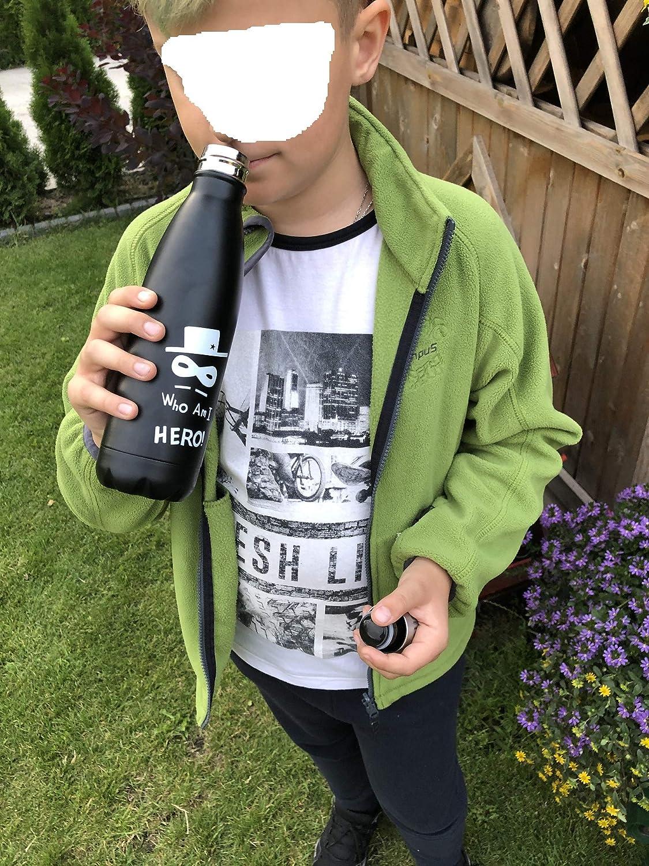Wasserflasche mit Strohhalm Reiseflasche Hydroflasche N3 ZELEK Wasserflasche Reisebecher Metall Wasserflasche K/ühlbox 500 ml Fitnessflasche M wei/ß Thermoskanne W/ärmflasche