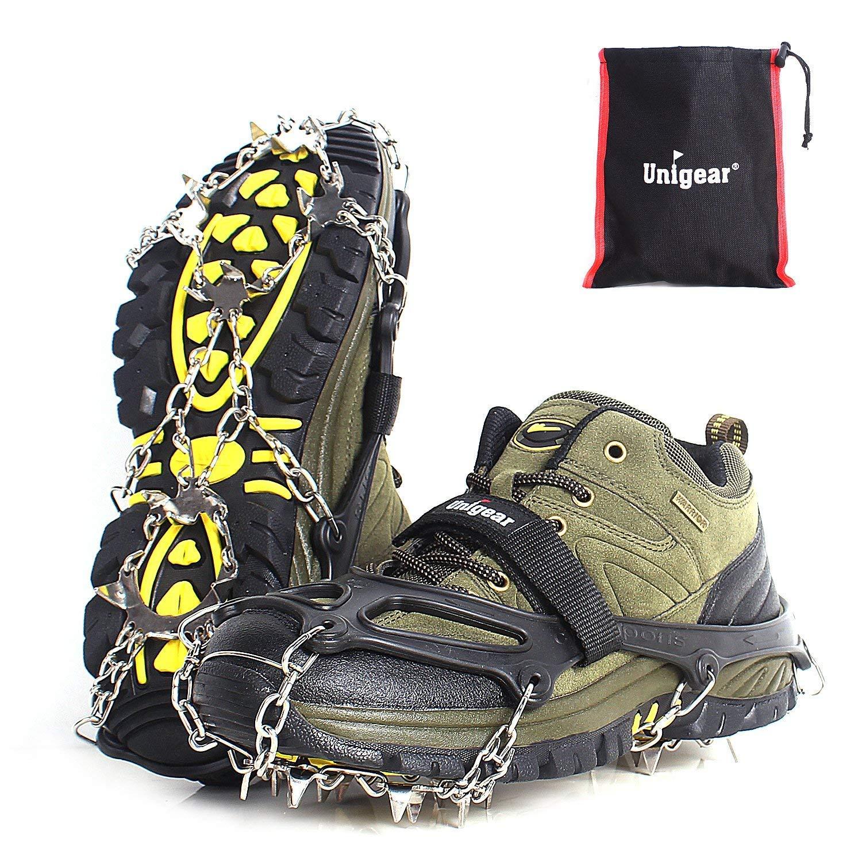 Unigear Crampons pour Chaussures Antidérapant avec Crampons en Acier Inoxydable à 18 Dents pour la Neige, la Glace, Les Randonnées, la Chasse et la Marche en Hiver