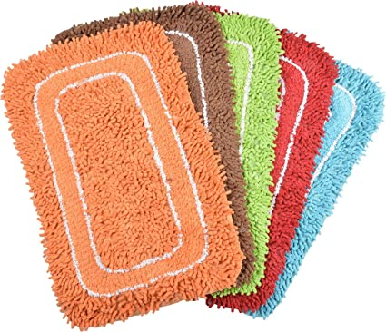 PINDIA Fancy 2 Piece Synthetic Mat Set - 24x16, Assorted