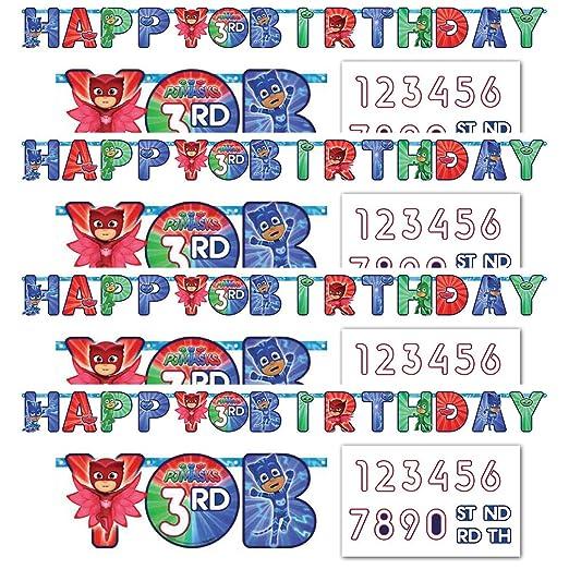 amscan PJ Masks - Cartel de cumpleaños (4 Unidades), diseño ...