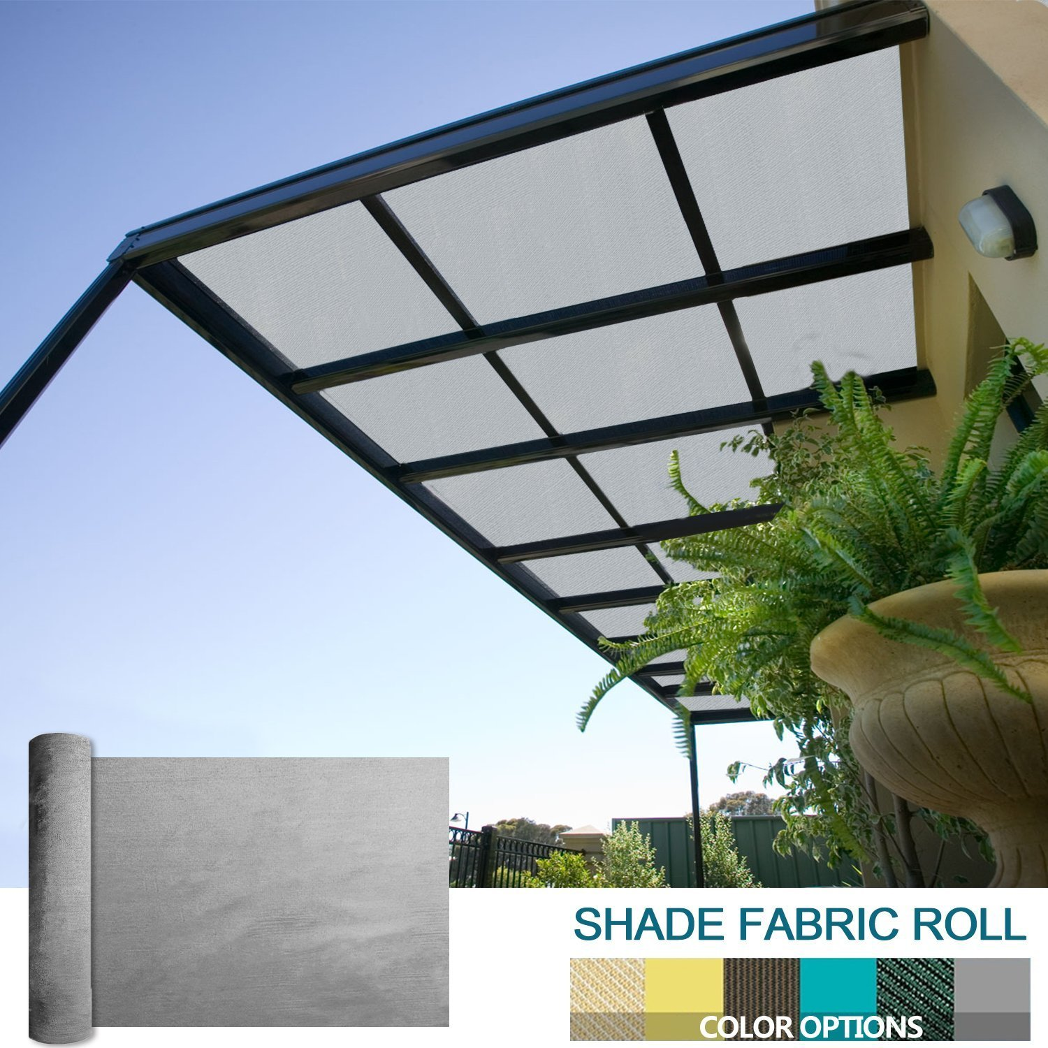 Coarbor 8Ft x 20Ft Shade Cloth Pergola Patio Cover Provide Shade Fabric Roll Mesh Screen Heavy Duty Provide Privacy Permeable UV Resistant Make to Order- Light Grey