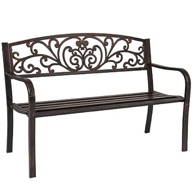 Best Choice Products 50  Patio Garden Bench Park Yard Outdoor Furniture Steel Frame Porch Chair Bronze