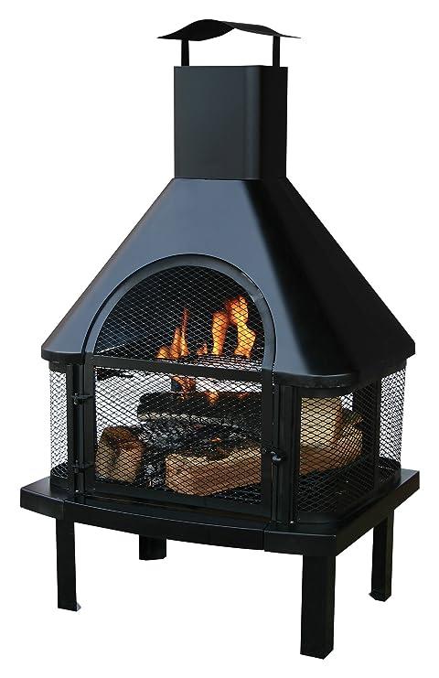 Amazon.com: Uniflame hogar con chimenea, negro: Jardín y ...