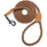 Mile High Life Braided Cotton Rope Leash with Leather Tailor Handle and Heavy Duty Metal Sturdy Clasp (Dark Brown, 4 FT)