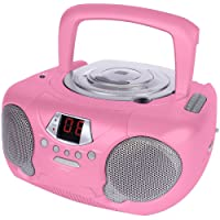 CD Player for Kids Boombox for Children Portable Players Ghetto Blaster with Radio for Girls or Boys. Compatible with MP3 Players, iPhone, iPad, iPod Via AUX (Pink)