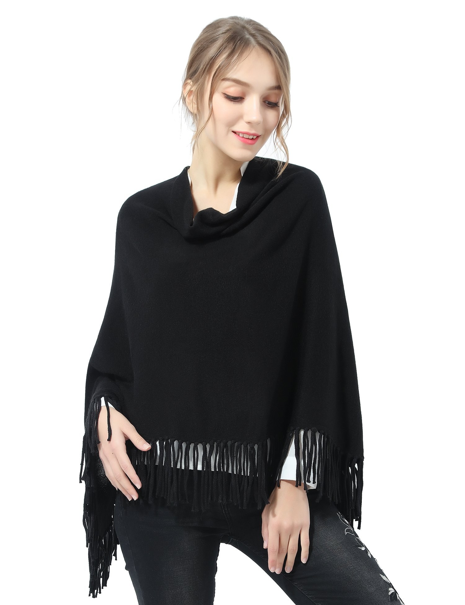 Joulli Women's Knitted Tassel Asymmetric Poncho Wrap Shawl Solid Color Scarf For Casual Business Black