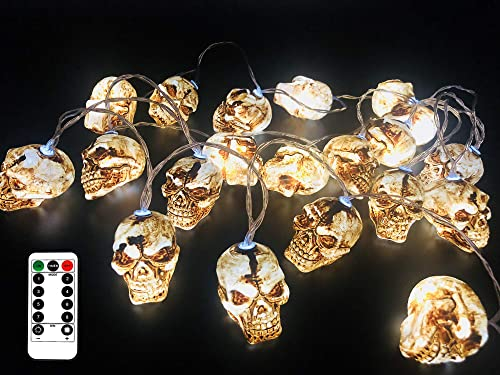 FENWOOH 11.5 Feet Battery Operated Halloween String Light with 20 LED Skulls Pumpkin, 8 Modes Dimmable Waterproof – Jack-O-Lantern Halloween Party Decoration Halloween Lights Skulls