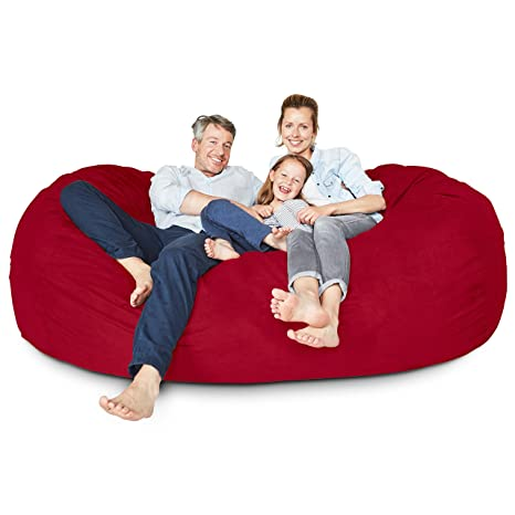 Enjoyable Lumaland Luxury 7 Foot Bean Bag Chair With Microsuede Cover Red Machine Washable Big Size Sofa And Giant Lounger Furniture For Kids Teens And Adults Andrewgaddart Wooden Chair Designs For Living Room Andrewgaddartcom