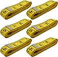 AxeSickle 120 inch Pocket Measuring Tape 300cm Double Scale Soft Tape Measure Flexible Ruler 6 Pcs for Sewing Tailor Cloth Body Measurement, Yellow.