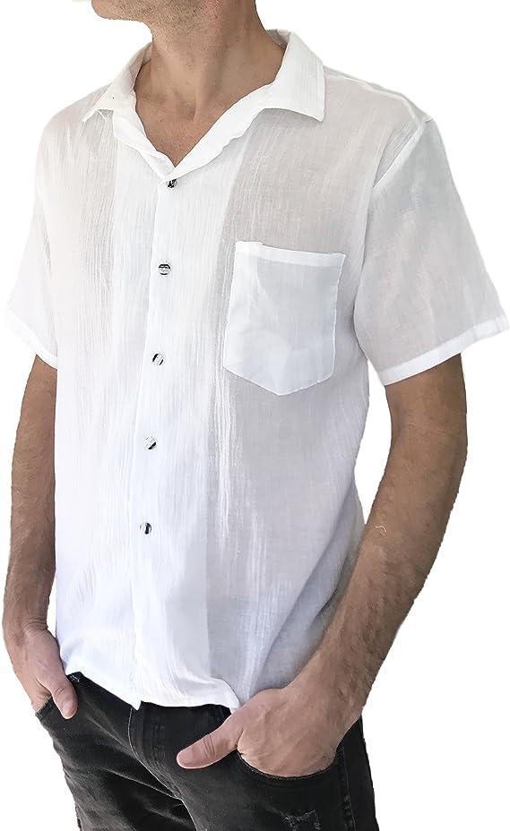 Amor Calidad Hombres De La Camisa De Color Blanco Luz Peso 100% botón de algodón para Hombre Playa Hippie Yoga Top