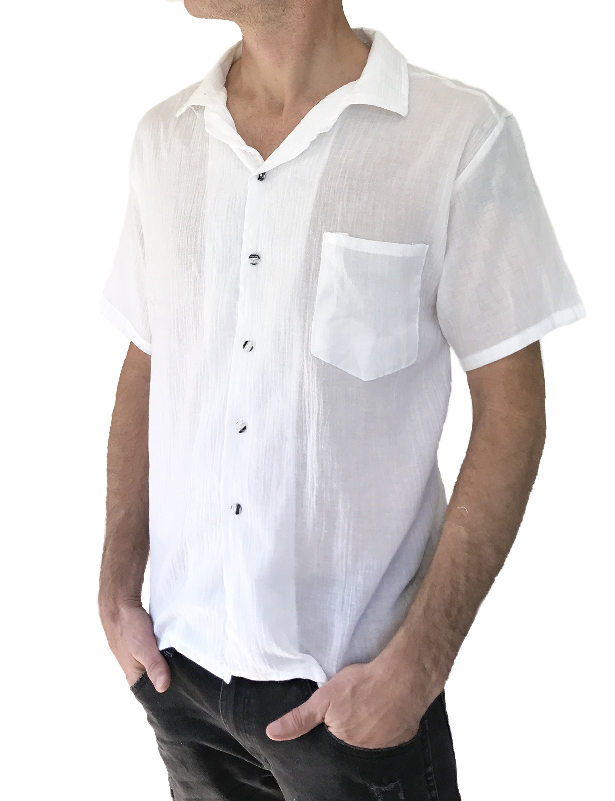 Love Quality Men's Button Shirt Light Weight 100% Cotton Hippie Casual Shirts (X-Large, White)
