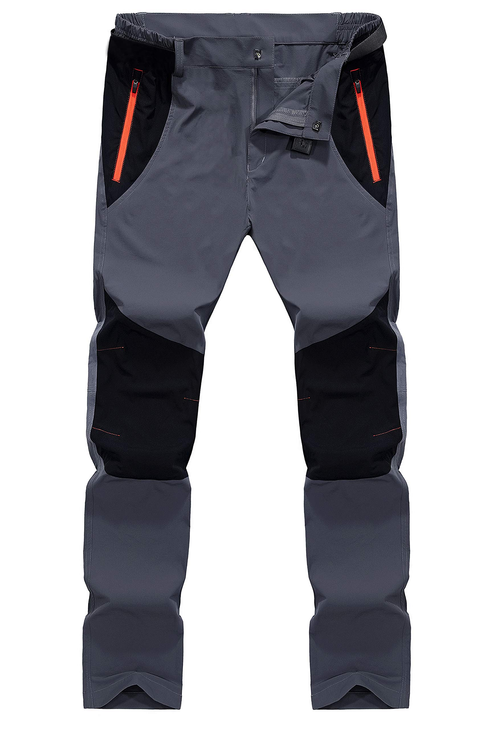 TACVASEN Mens Lightweight Stretch Quick Dry Trousers Outdoor hiking Pants with Zipper Pockets