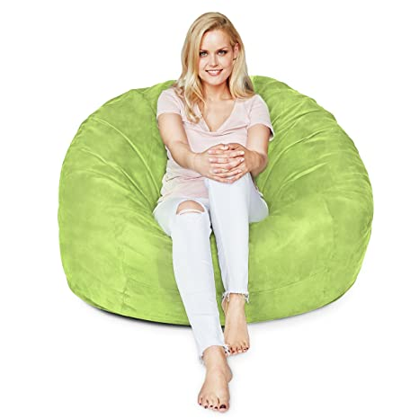 Excellent Lumaland Luxury 4 Foot Bean Bag Chair With Microsuede Cover Light Green Machine Washable Big Size Sofa And Giant Lounger Furniture For Kids Teens Cjindustries Chair Design For Home Cjindustriesco