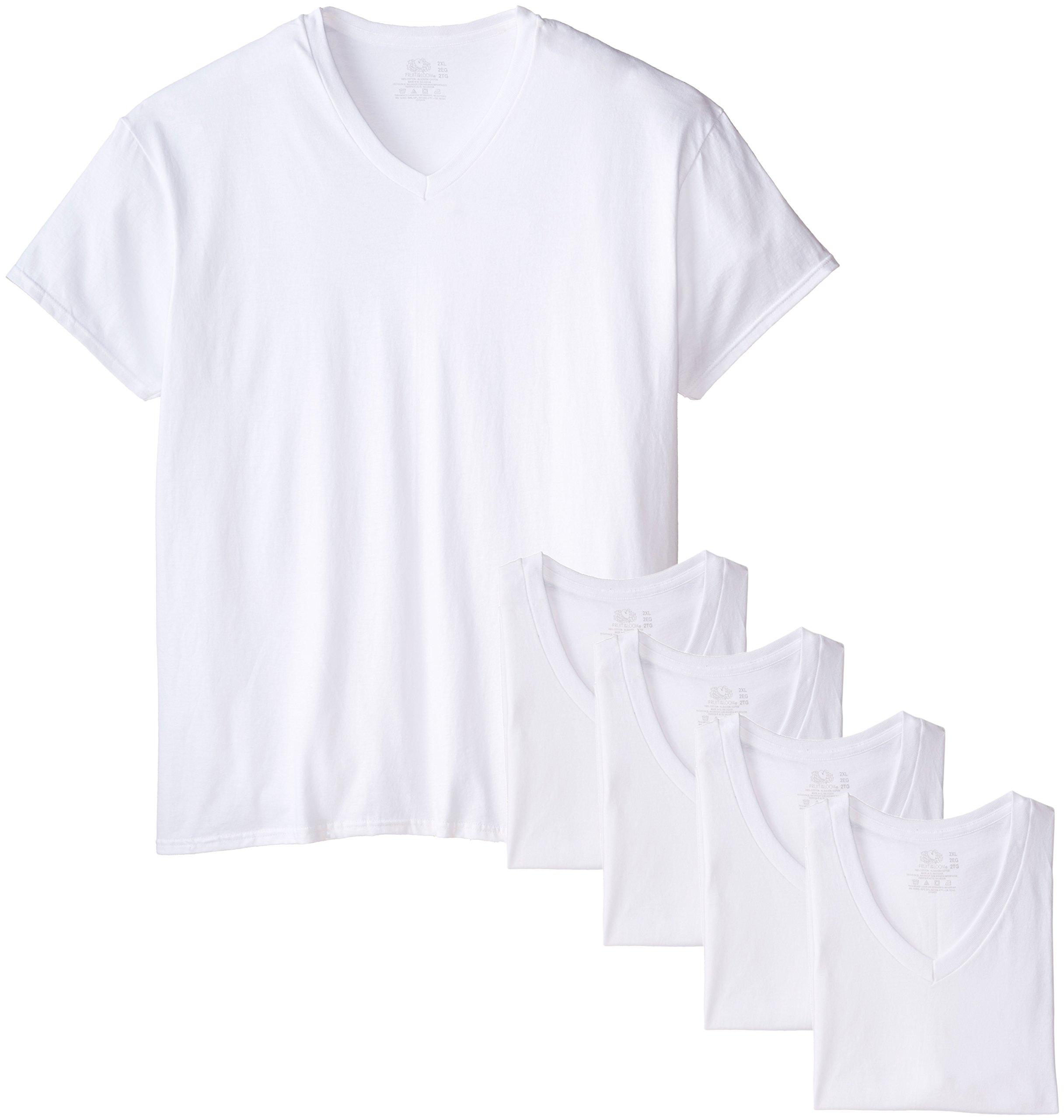 Fruit of the Loom Men's  Extended Sizes V-Neck T-Shirt, White, XX-Large(Pack of 5)