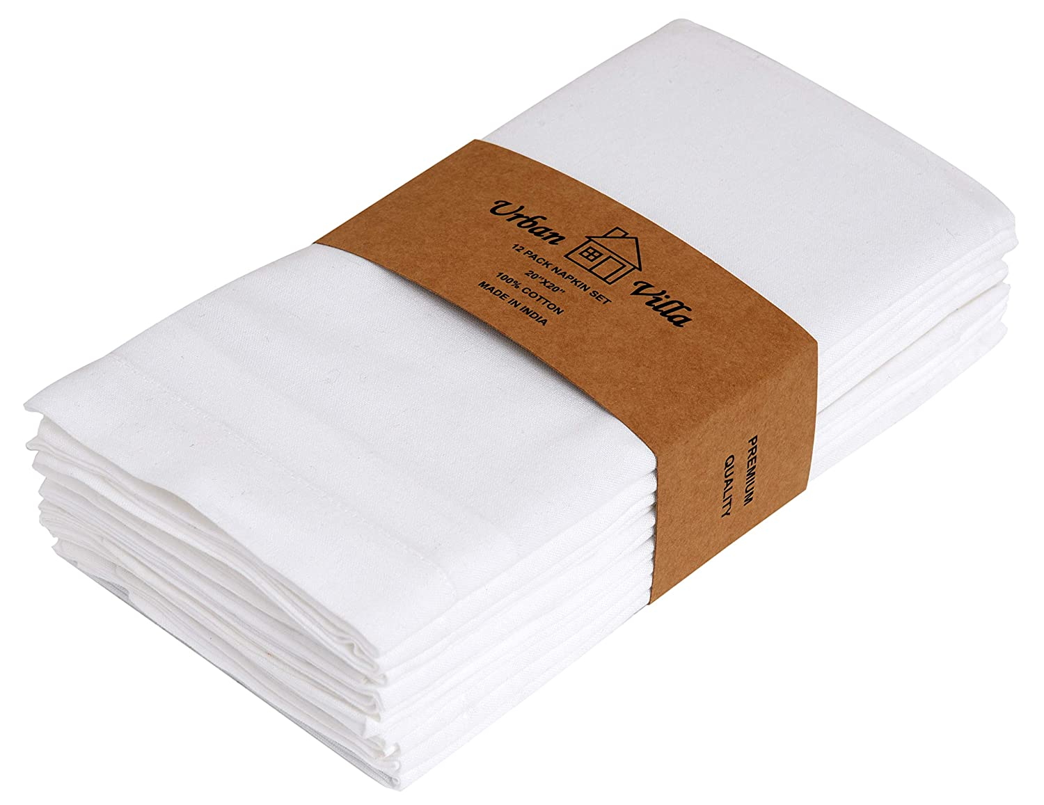Urban Villa White Solid Flat Weave Ultra Soft, Premium Quality,Dinner Napkins, 100% Cotton, Set of 12, Size 20X20 Inch, White Oversized Cloth Napkins with Mitered Corners, Durable Hotel Quality