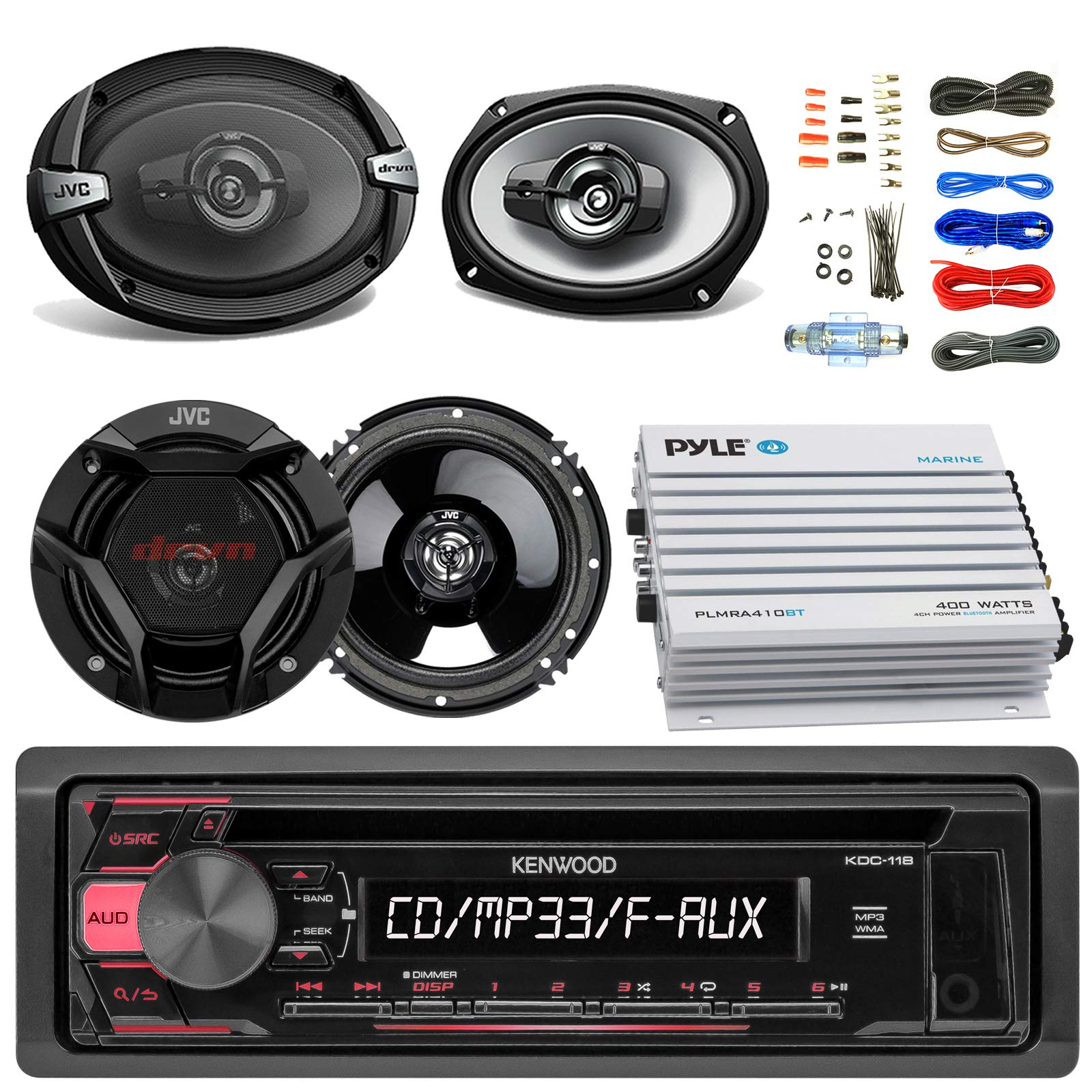 Kenwood KDC118 Car CD Player Receiver AUX Radio - Bundle Combo With 2x JVC 6x9'' 3-Way Vehicle Coaxial Speakers + 2x 6.5'' Inch 2-Way Audio Speakers + 4-Channel Amplifier + Amp Kit by EnrockAudioBundle (Image #1)