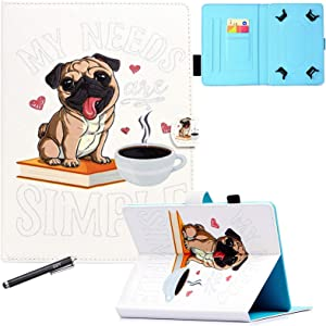 10 Inch Universal Case, GSFY Pretty Folio Stand Protective Case Leather Pocket Cover for Apple/Samsung/Kindle/Huawei/Lenovo/Android/Dragon Touch 9.6 9.7 10 10.1 10.5 Inch Tablet - Simple Dog