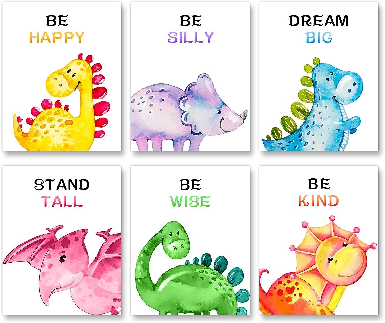 "Dinosaur Dream Big Little One Kids Nursery Baby Room Sign 5/""x10/"""