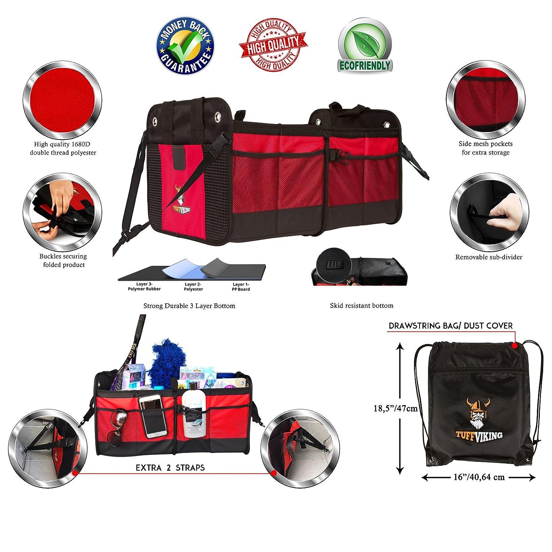 Organizador para maletero Bolsillos Laterales Extensibles Rojo TUFF VIKING Organizadores maletero coche Fondo Reforzado Plegable e Interior Impermeable Separador Extra/íble Caja plegable coche,maletero plegable