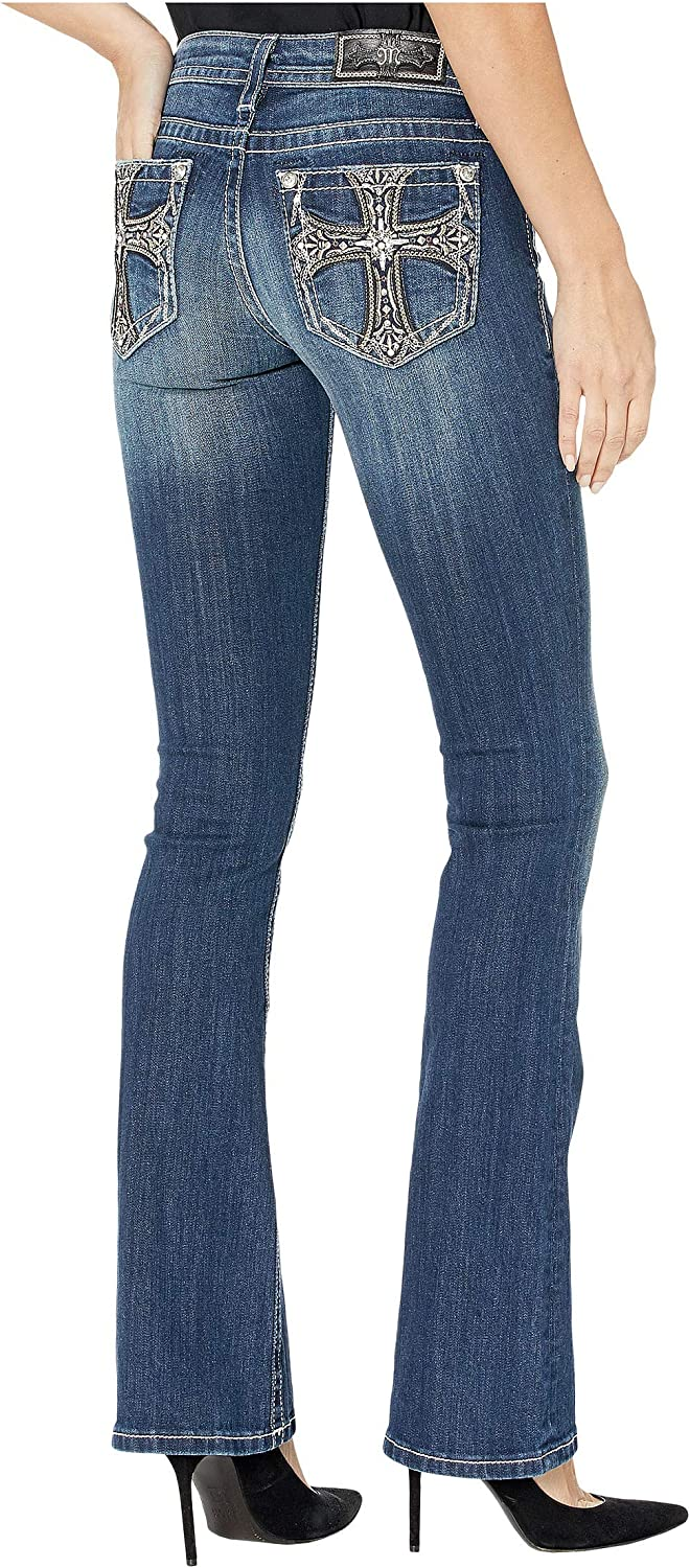 Miss Me - - Frauen M3473B Cross Embellised Bootcut Jeans Dark Blue