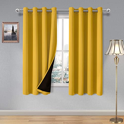 DWCN 100 Yellow Blackout Curtains Thermal Insulated