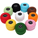 10 Pack Crochet Cotton Yarn Thread by Kurtzy- Plain Design in an Assortment of Colors - Threads for Knitting, Projects and Applique - 20 Grams - 170 Meters of Thread Material