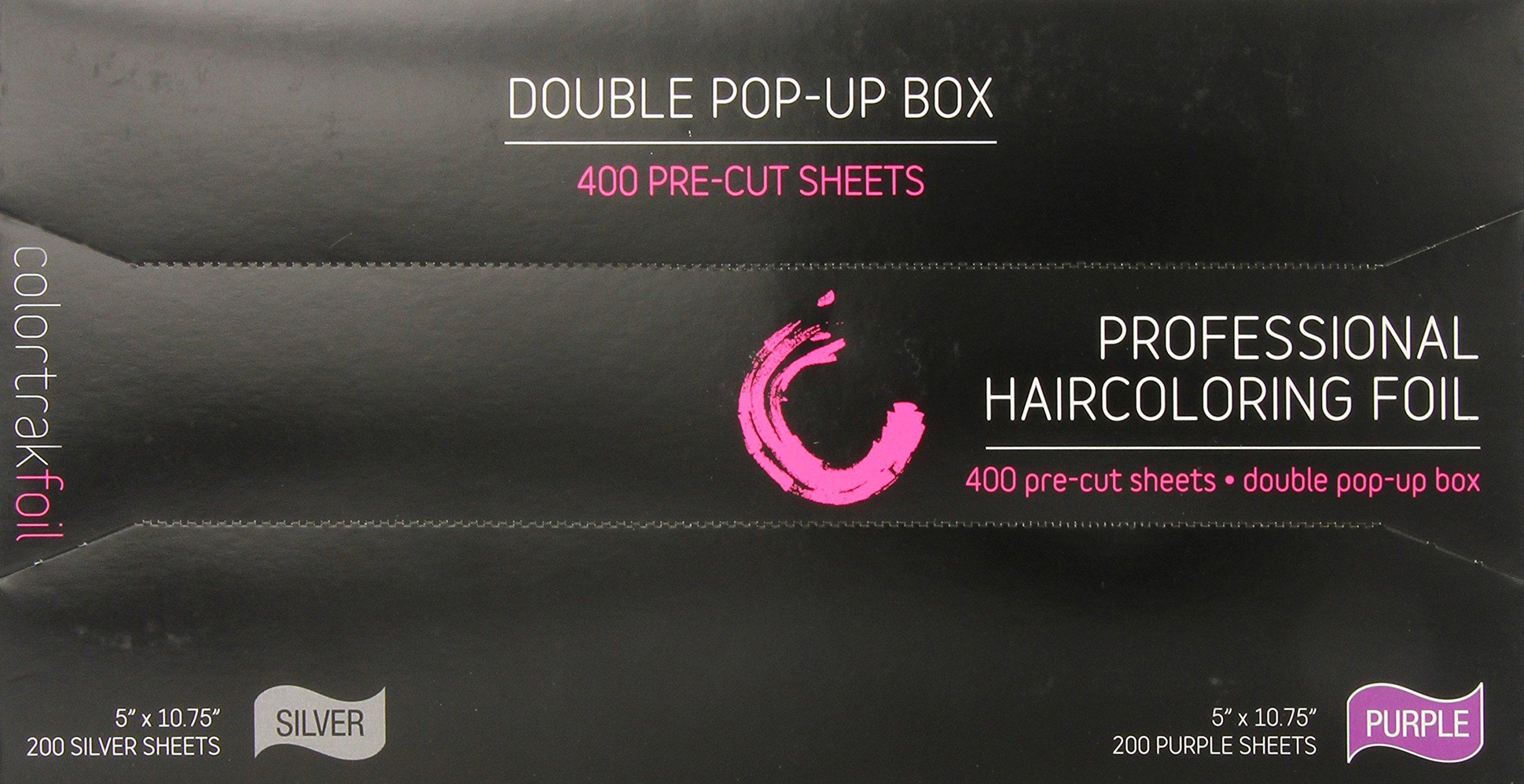 Colortrak Professional Dual Dispenser Pop-up Coloring / Highlighting Foil Sheets, Purple / Silver (400 Count)
