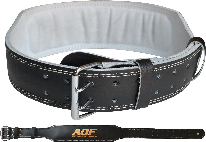 AQF Gewichtheberg/ürtel Leder 4 Lendenwirbelst/ütze Gepolsterte Fitness-G/ürtel mit Stahlrollenschnalle Geeignet F/ür Gym Krafttraining Bodybuilding