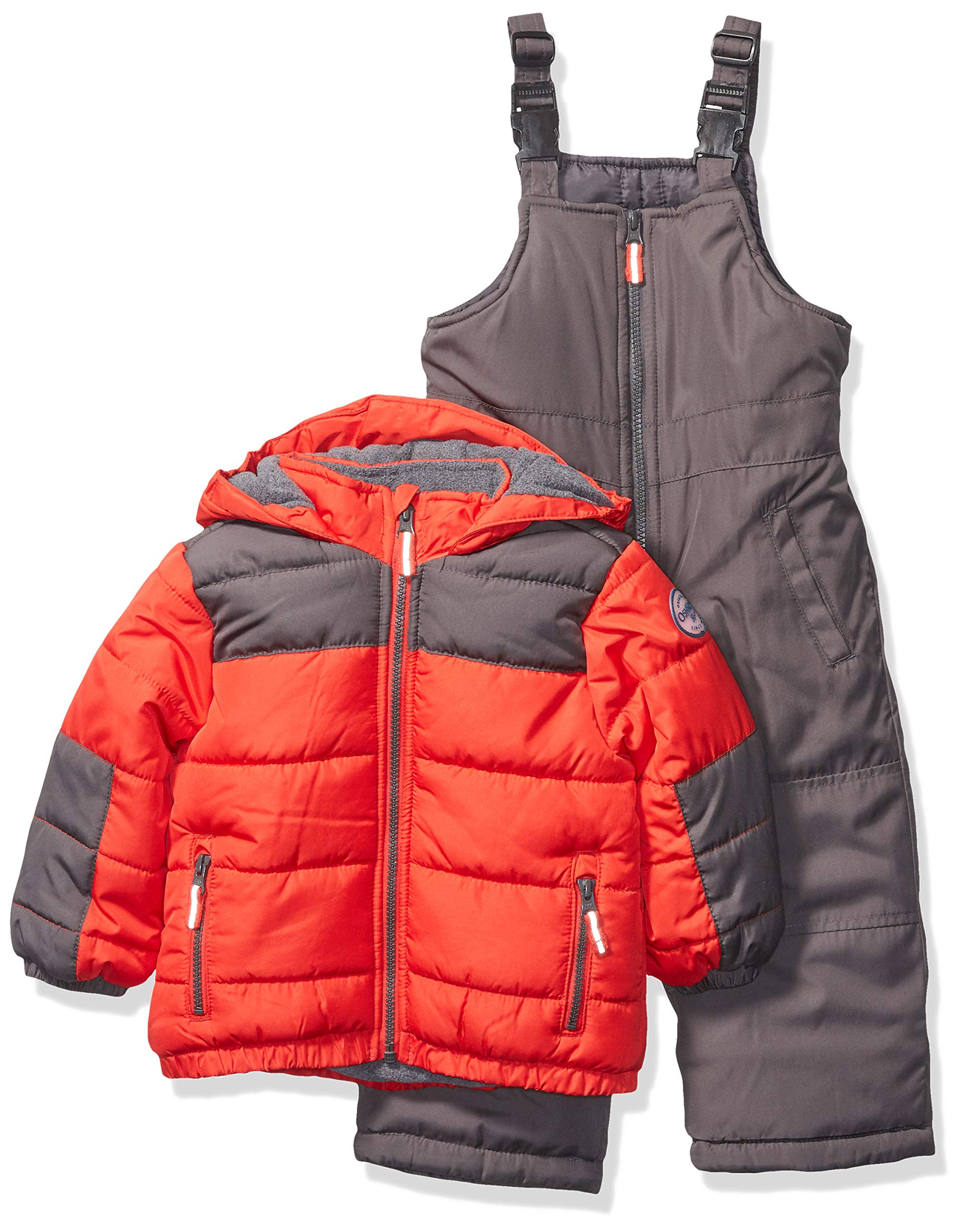 Osh Kosh Boys' Toddler Ski Jacket and Snowbib Snowsuit Set, Red Alert/New Carbon, 3T by OshKosh B'Gosh