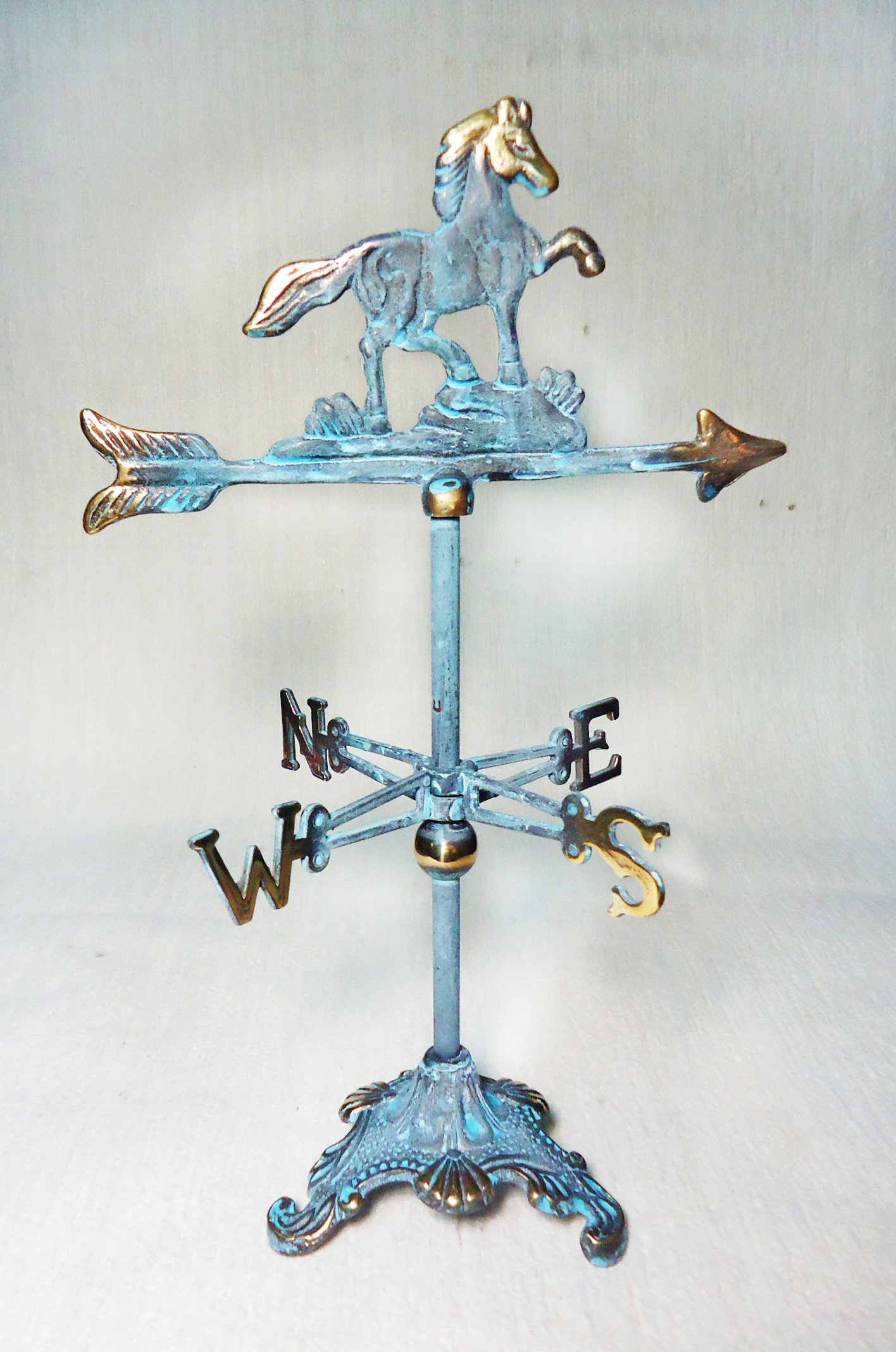Brass Horse Mini Weather Vane for Desk-top 12.25'' inches H