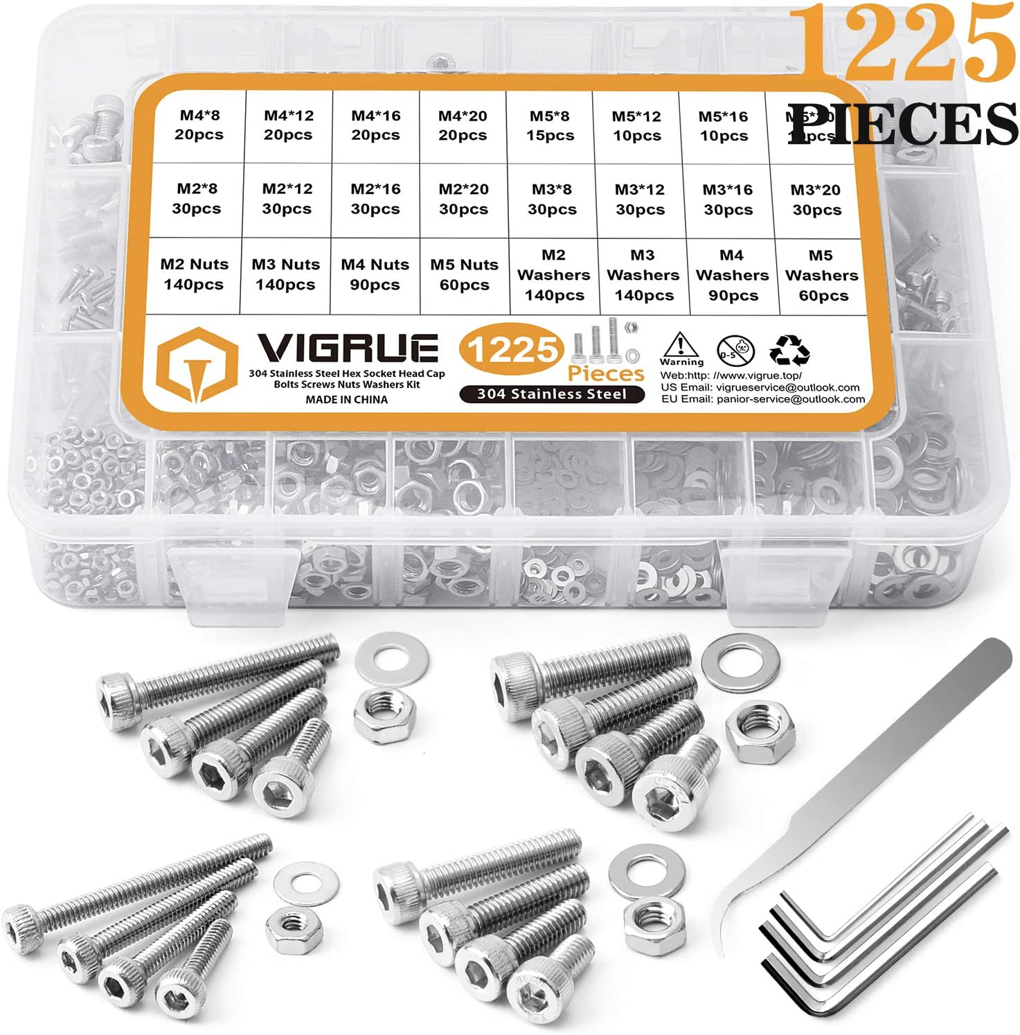 Silber VIGRUE M2 M3 M4 M5 Schrauben Set 1225St/ück Edelstahl-Sechskopf-Knopf Schrauben Muttern und Unterlegscheiben Sortiment Kit mit Aufbewahrungsbox flach Fall Box